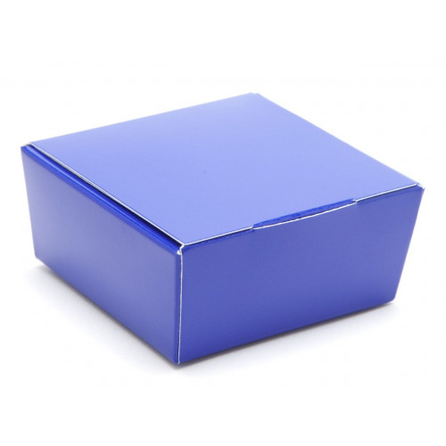 Ready-Assembled 4 Choc Ballotin Flat Top Box Only 66mm x 66mm x 31mm in Blue