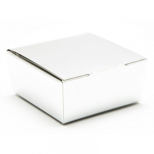 Ready-Assembled 4 Choc Ballotin Flat Top Box Only 66mm x 66mm x 31mm in Silver