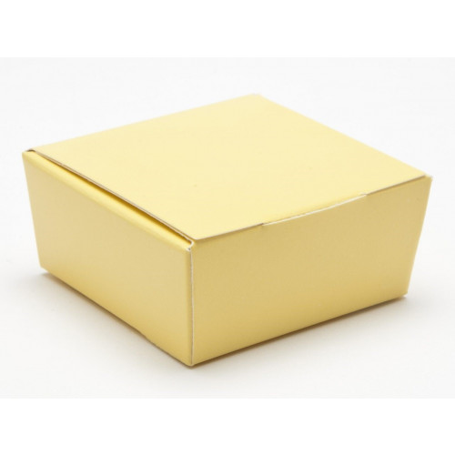 Ready-Assembled 4 Choc Ballotin Flat Top Box Only 66mm x 66mm x 31mm in Buttermilk Yellow