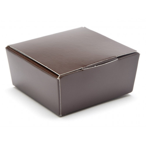 Ready-Assembled 4 Choc Ballotin Flat Top Box Only 66mm x 66mm x 31mm in Chocolate Brown