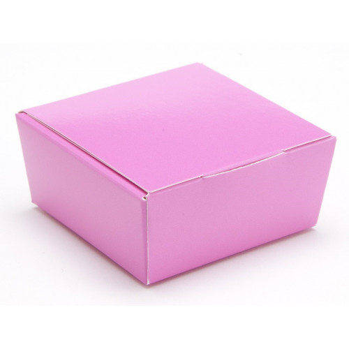 Ready-Assembled 4 Choc Ballotin Flat Top Box Only 66mm x 66mm x 31mm in Electric Pink