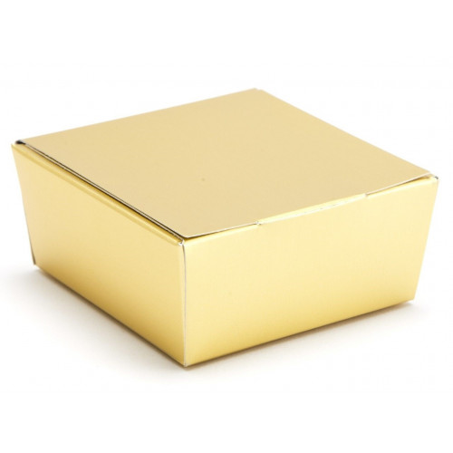 Ready-Assembled 4 Choc Ballotin Flat Top Box Only 66mm x 66mm x 31mm in Gold