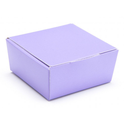 Ready-Assembled 4 Choc Ballotin Flat Top Box Only 66mm x 66mm x 31mm in Lilac