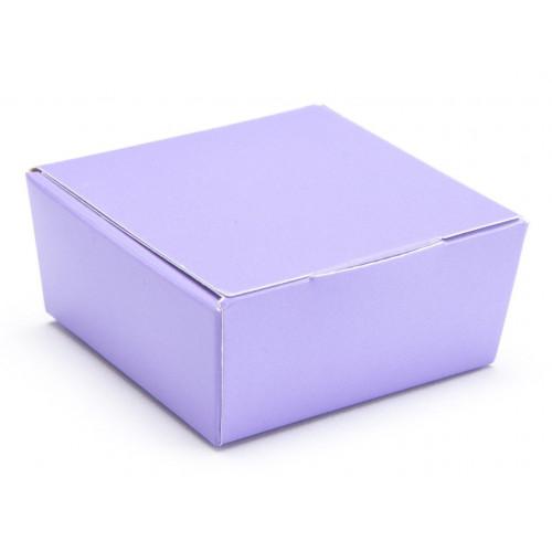 Ready-Assembled 4 Choc Ballotin Flat Top Box Only 66mm x 66mm x 31mm in Lilac