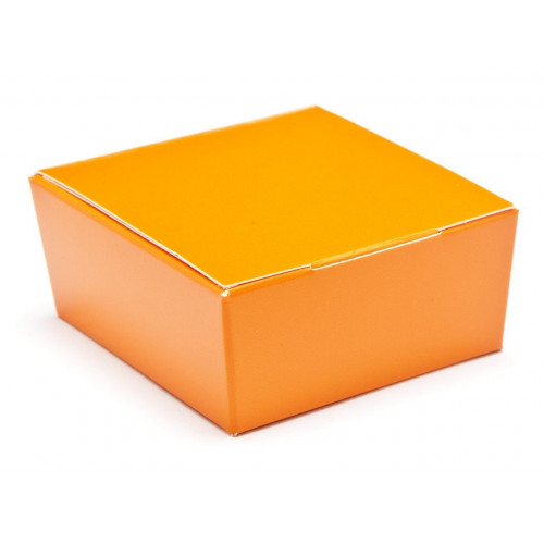 Ready-Assembled 4 Choc Ballotin Flat Top Box Only 66mm x 66mm x 31mm in Orange