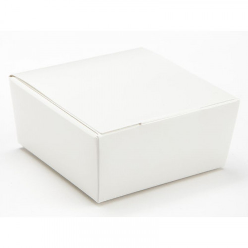 Ready-Assembled 4 Choc Ballotin Flat Top Box Only 66mm x 66mm x 31mm in White