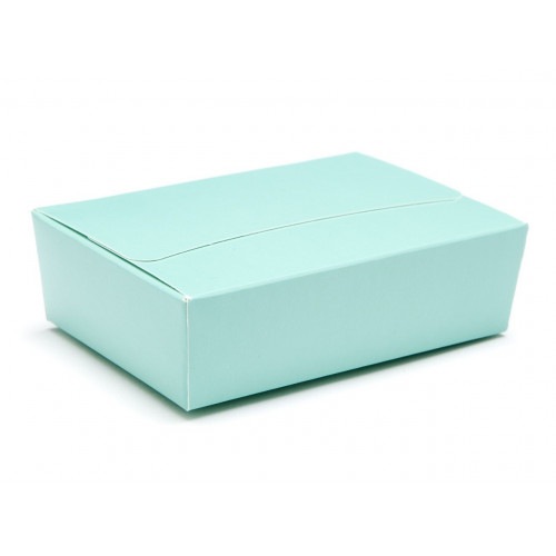 Ready-Assembled 6 Choc Ballotin Flat Top Box Only 100mm x 66mm x 31mm In Aqua