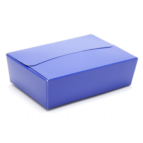 Ready-Assembled 6 Choc Ballotin Flat Top Box Only 100mm x 66mm x 31mm In Blue