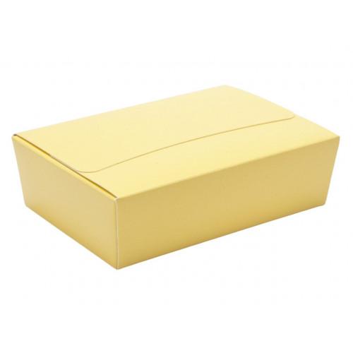 Ready-Assembled 6 Choc Ballotin Flat Top Box Only 100mm x 66mm x 31mm In Buttermilk Yellow