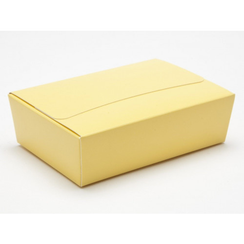 Ready-Assembled 6 Choc Ballotin Flat Top Box Only 100mm x 66mm x 31mm In Buttermilk Yellow