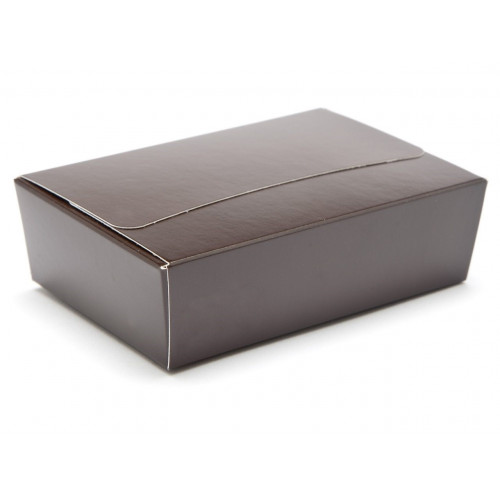 Ready-Assembled 6 Choc Ballotin Flat Top Box Only 100mm x 66mm x 31mm In Chocolate Brown