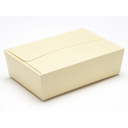 Ready-Assembled 6 Choc Ballotin Flat Top Box Only 100mm x 66mm x 31mm In Cream