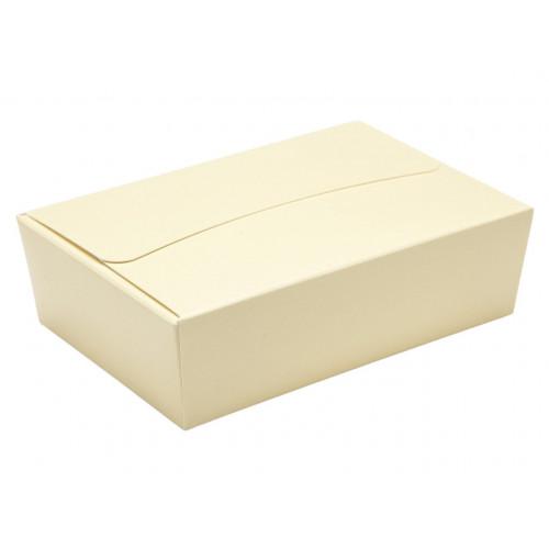 Ready-Assembled 6 Choc Ballotin Flat Top Box Only 100mm x 66mm x 31mm In Cream