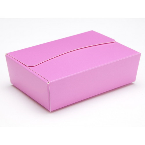 Ready-Assembled 6 Choc Ballotin Flat Top Box Only 100mm x 66mm x 31mm In Electric Pink