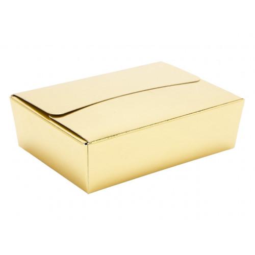 Ready-Assembled 6 Choc Ballotin Flat Top Box Only 100mm x 66mm x 31mm In Gold