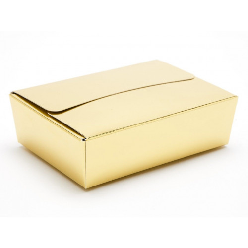 Ready-Assembled 6 Choc Ballotin Flat Top Box Only 100mm x 66mm x 31mm In Gold