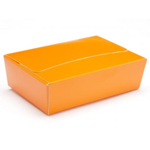 Ready-Assembled 6 Choc Ballotin Flat Top Box Only 100mm x 66mm x 31mm In Orange