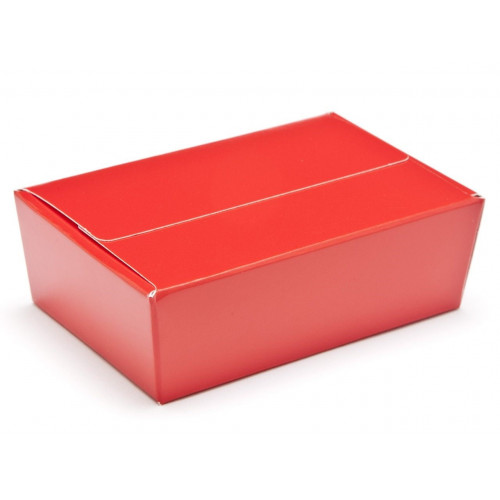 Ready-Assembled 6 Choc Ballotin Flat Top Box Only 100mm x 66mm x 31mm In Red