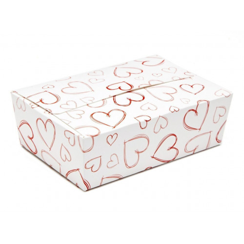 Ready-Assembled Belgian Style Tapered Gift Carton with Flat Top White with Red Heart Design 100mm x 66mm x 31mm ideal for Chocolate, Truffles or Confectionery