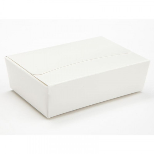 Ready-Assembled 6 Choc Ballotin Flat Top Box Only 100mm x 66mm x 31mm In White
