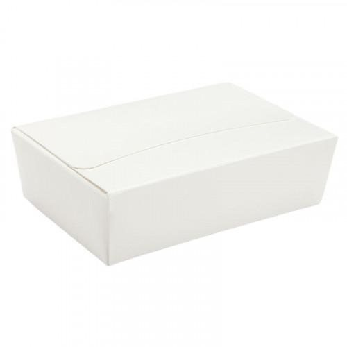 Ready-Assembled 6 Choc Ballotin Flat Top Box Only 100mm x 66mm x 31mm In White