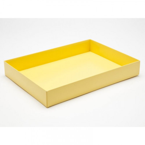 Fold-Up 24 Chocolate Box Base Only 221mm x 159mm x 32mm in Buttermilk Yellow