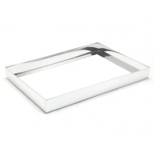 Fold-Up 48 Chocolate Box Base Only 312mm x217mm x32mm in Bright Silver