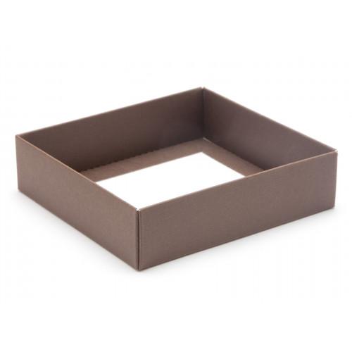 ElegantTexture-Embossed Matt Finish 9 Choc Square Wibalin Gift Box BaseOnly 120mm x 112mm x 32mm in Brown