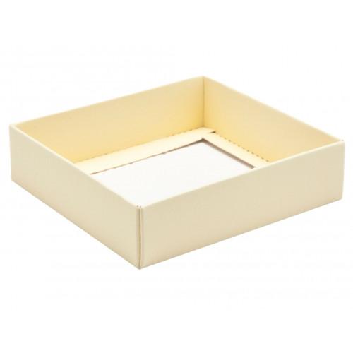 ElegantTexture-Embossed Matt Finish 9 Choc Square Wibalin Gift Box BaseOnly 120mm x 112mm x 32mm in Cream
