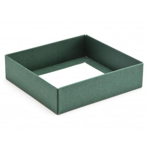 ElegantTexture-Embossed Matt Finish 9 Choc Square Wibalin Gift Box BaseOnly 120mm x 112mm x 32mm in Green