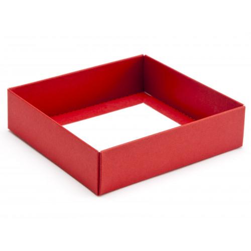 ElegantTexture-Embossed Matt Finish 9 Choc Square Wibalin Gift Box BaseOnly 120mm x 112mm x 32mm in Red