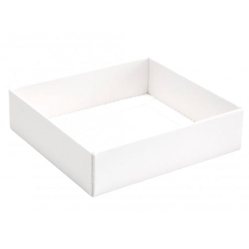 ElegantTexture-Embossed Matt Finish 9 Choc Square Wibalin Gift Box BaseOnly 120mm x 112mm x 32mm in White