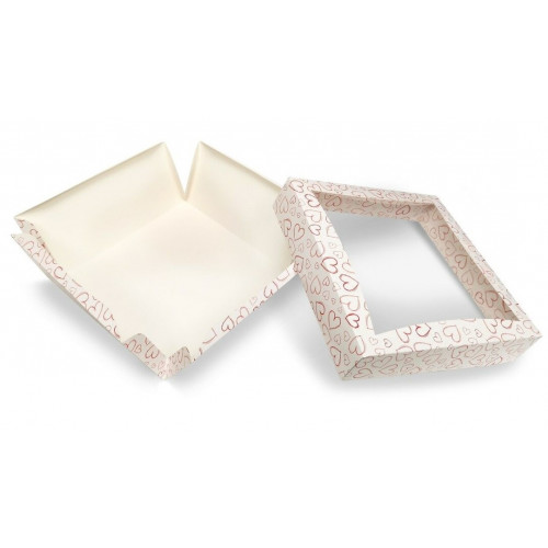 Extra Large Patisserie Cake Box with Heart Design - Single Wall Base & Fold-Up Window Lid 230mm x 230mm x 100mm Self-assemble