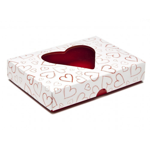 Fold-Up White 12 Chocolate Box Lid with Red Heart Design & Window 159mm x 112mm x 32mm (Lid Only)