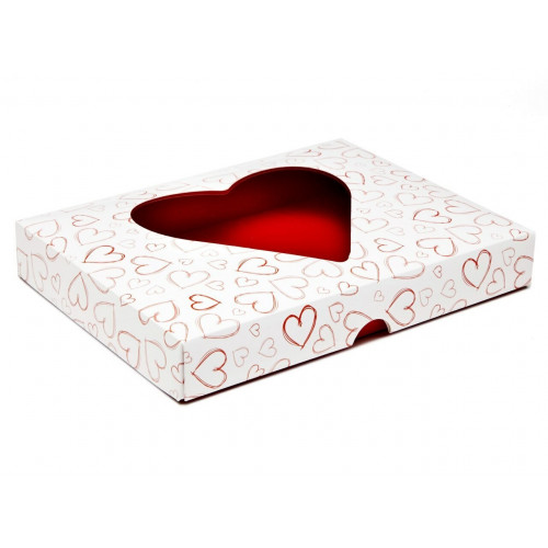 Fold-Up White 24 Chocolate Box Lid with Red Heart Design & Window 221mm x 159mm x 32mm (Lid Only)