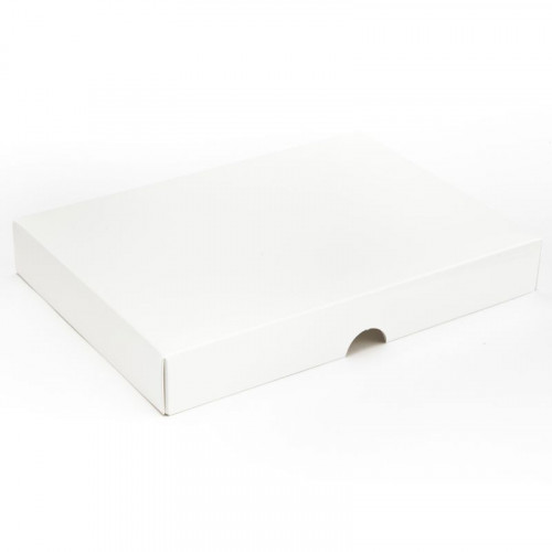 Fold-Up 24 Chocolate Box Lid Only 221mm x 159mm x 32mm in White