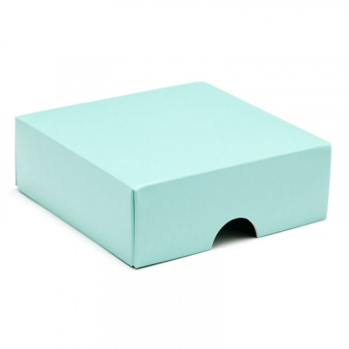 Fold-Up 4 Chocolate Box Lid Only 78mm x 82mm x 32mm in Aqua