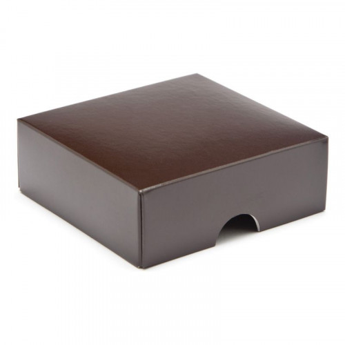 Fold-Up 4 Chocolate Box Lid Only 78mm x 82mm x 32mm in Chocolate Brown