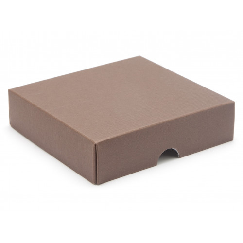 Elegant Texture-Embossed Matt Finish 9 Choc Square Wibalin Gift Box Lid Only 120mm x 112mm x 32mm in Brown