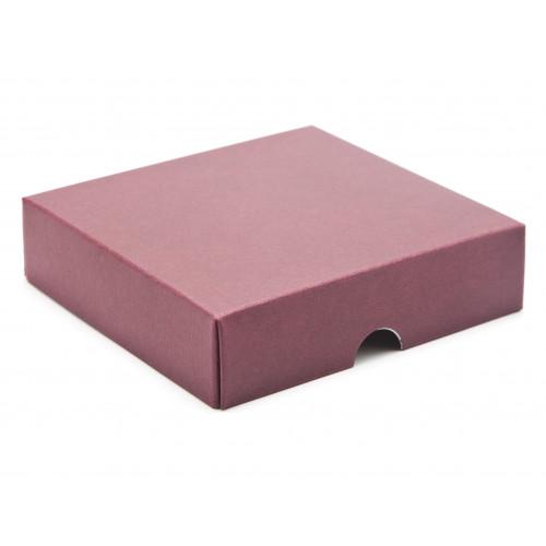 ElegantTexture-Embossed Matt Finish 9 Choc Square Wibalin Gift Box LidOnly 120mm x 112mm x 32mm in Burgundy