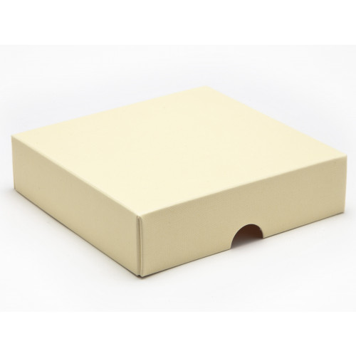 Elegant Texture-Embossed Matt Finish 9 Choc Square Wibalin Gift Box Lid Only 120mm x 112mm x 32mm in Cream
