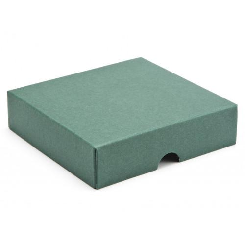 ElegantTexture-Embossed Matt Finish 9 Choc Square Wibalin Gift Box LidOnly 120mm x 112mm x 32mm in Green