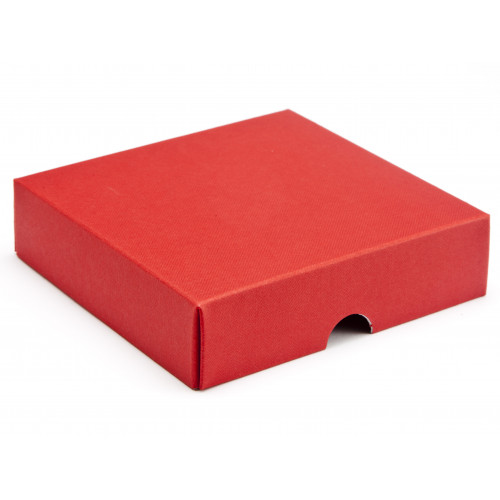 Elegant Texture-Embossed Matt Finish 9 Choc Square Wibalin Gift Box Lid Only 120mm x 112mm x 32mm in Red