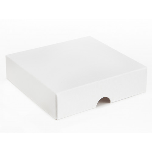 Elegant Texture-Embossed Matt Finish 9 Choc Square Wibalin Gift Box Lid Only 120mm x 112mm x 32mm in White
