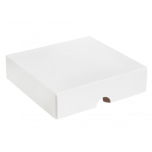 ElegantTexture-Embossed Matt Finish 9 Choc Square Wibalin Gift Box LidOnly 120mm x 112mm x 32mm in White