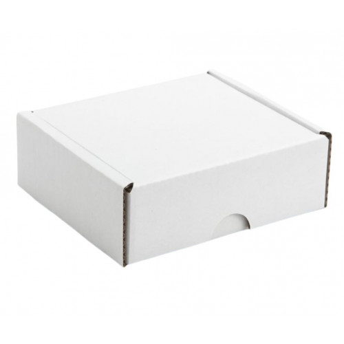 4 Choc Mail Out Box Also Fits Square Wibalin Box 105mm x 87mm x 35mm  (Ready Assembled) White