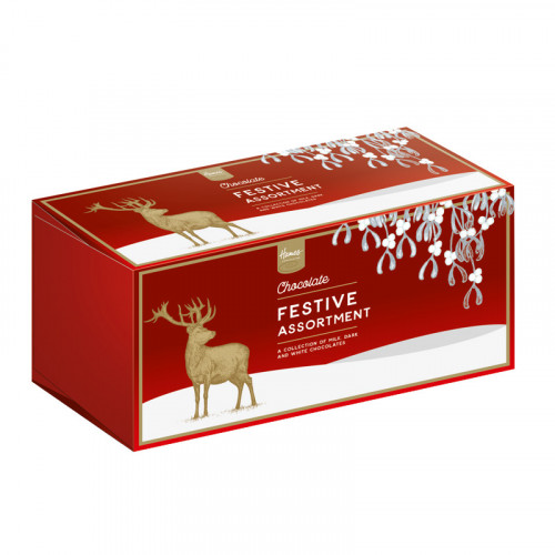 Festive Stag - 12 Milk, Dark & White Assorted Chocolates