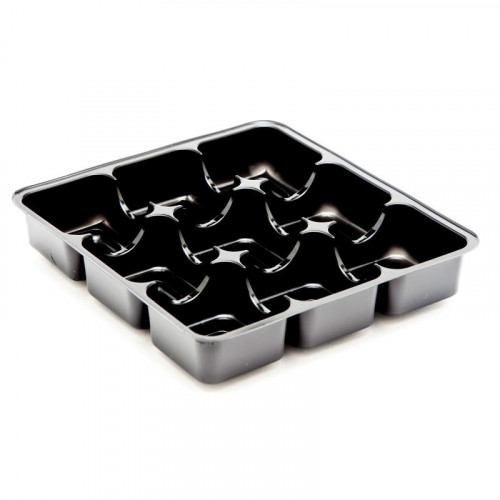 Gold 9 Cav Truffle Insert Tray 250micron APET  3 rows of 3 config for Square Wibalin Box 120mm x 112mm