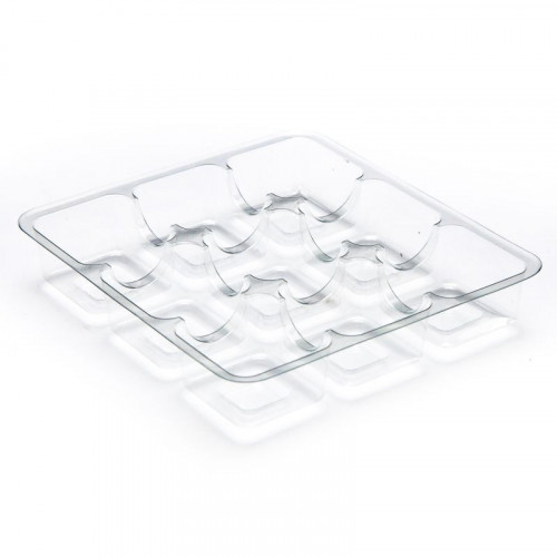 Clear 9 Choc Cav Truffle Insert Tray 250micron RPET  3 rows of 3 config for Square Wibalin Box 120mm x 112mm