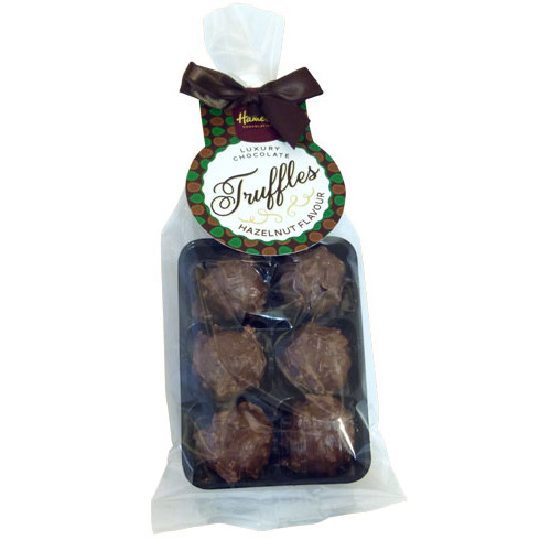 Luxury 6 Truffle Bag - Milk Chocolate with Hazelnut Flavour Truffle with Brown Twist Tie Bow & Swing Tag  x Outer of 20